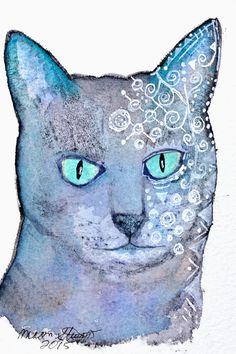 Moon Stumpp ICAD #32…off prompt, my Muse is either on vaca or hungover so back to cats.   Watercolor, FW white ink, and ink on 4x6 scrap paper.  #ICAD2015 sketch, watercolor, mini paintings, index card a day, art challenge, art journal, blue, cat,