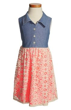 Zunie Chambray & Lace Dress (Little Girls & Big Girls) available at #Nordstrom
