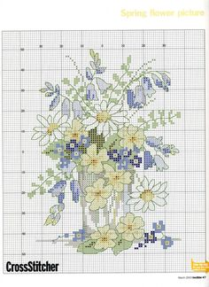 Cross stitch - flowers: Spring flowers (free pattern - chart)