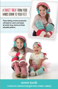 These darling crochet accessories will keep your little ones warm and toasty! (Click the image for materials needed and instructions.)