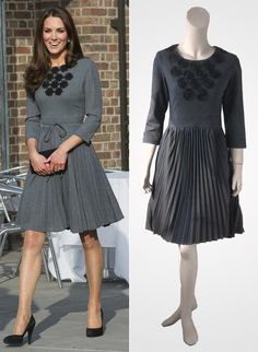 Gray pleated dress with half sleeves and black floral applications inspired by Kate Middleton on Etsy, $299.00