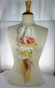 Ruffle Ascot Necklace from Vintage Doilies Lace and by JustLiv, $45.00 Interesting idea...