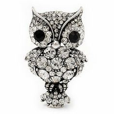 0249cfc5b32 Antique Silver Metal Clear Crystal Owl Brooch Avalaya.  21.60. Occasion   anniversary
