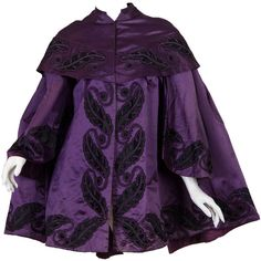 Preowned Victorian Silk Satin Coat With Quilted Lining ($1,200) ❤ liked on Polyvore featuring outerwear, coats, multiple, purple coat, flare coat, faux-fur coats, victorian coat and flared coat