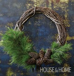 Go beyond evergreen and bows with a rustic offset wreath that's beautifully simple. | Photographer: Kim Jeffery | Designer: Lauren Petroff