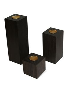 Monomade Domino candlesticks in smoaked oak
