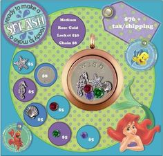 An Origami Owl locket that would make any girl who loves Ariel feel like a princess!  SHOP~HOST~JOIN~