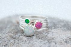 A beautiful set of rainbow opals! Each opal is very colorful and fiery! Make your own unique set!  Sterling silver Opal stacking ring set, custom