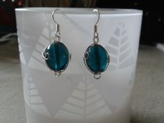 Indian Glass Teal and Wire Earrings Wire Earrings, Drop Earrings, Teal, Indian, Mini, Glass, Jewelry, Fashion, Moda
