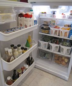 Dollar store baskets w handles to organize fridge. Replace veg drawer w small clear plastic totes