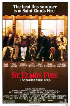 St. Elmo's Fire - one of my all time faves and the soundtrack of my life.