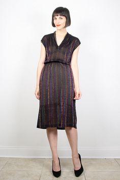 Vintage Disco Dress Midi Dress Black Dress by ShopTwitchVintage