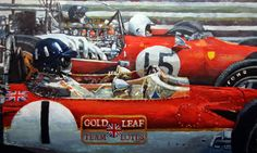 Gallery of artist Yuriy Shevchuk: Spain GP 1969 Lotus 49 Hill Ferrari 312 Amon Lotus Rindt F1 Lotus, Lotus Car, Formula 1, Jochen Rindt, Sports Painting, Automobile, Gilles Villeneuve, Mobile Art, Car Posters
