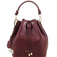 81415314 VITTORIA - Schultertasche Secchiello aus Leder, Dunkelblau Tuscany Leather