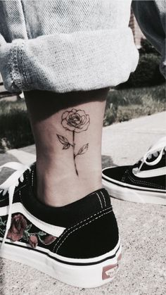 #flower #rose #leg #tattoo #ink #vans