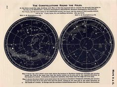 1942 constellations star map original vintage celestial print round the globe - southern hemisphere. $35.00, via Etsy.