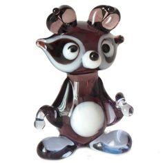 Glass Little Raccon Figure - Russian Glass Animals Glass Figurines, Glass Animals, Blown Glass, Murano Glass, Glass Art, Russia, Babe, Artist, Gifts