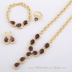 Free Shipping!!! 18k Gold Plated Fashionable Australian Rhinestone Crystal Long Drop Pendant Necklace Earring Set Jewelry