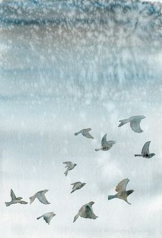 """Watercolor painting print - Birds flying  in a blue gray winter sky - Fine art giclee print 8""""x12"""" on Etsy, $21.05"""
