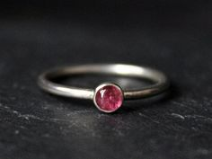 Pink Tourmaline Sterling Silver Ring / October Birthstone / 4mm Round Stacking Engagement Bridal / GUGMA Women's Minimalist Jewelry