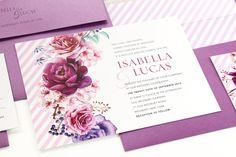 Boho Floral Wedding Invitation, Watercolor Florals Wedding Invitation, pink and purple, stripes - SAMPLES