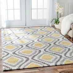 Hand-tufted Logan Grey/ Gold Wool Rug (5'0 x 7'6) - Overstock Shopping - Great Deals on Alexander Home 5x8 - 6x9 Rugs
