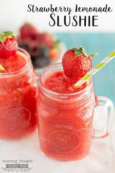 Amazingly Easy Strawberry Lemonade Slushies – made from fresh Strawberries Amazingly Easy Strawberry Lemonade Slushies – made from fresh Strawberries Easy Strawberry Lemonade Recipe, Homemade Strawberry Lemonade, Strawberry Drinks, Fruity Drinks, Summer Drinks, Strawberry Picking, Alcoholic Drinks, Strawberry Recipes, Refreshing Drinks