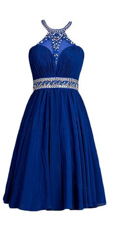 Lovely Halter A-line Chiffon Prom Dresses Short Beaded Homecoming Gown