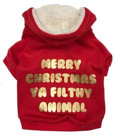 Merry Christmas Ya Filthy Animal Dog Hoodie, Christmas Dog Sweater, Ugly Christmas Sweater for dogs