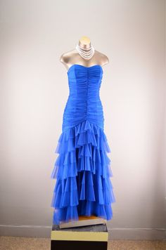 Strapless party dress / Vintage evening gown / Blue by melsvanity, $118.00
