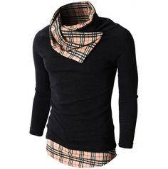 Mens shirt Knited Turtleneck Slim Fit Pullover Sweater Patterned Turtleneck Point (KMTTL056:DOUBLJU)