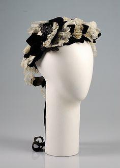 Bonnet Made Of Linen, Silk And Beads - American   c.1875   -   The Metropolitan Museum Of Art