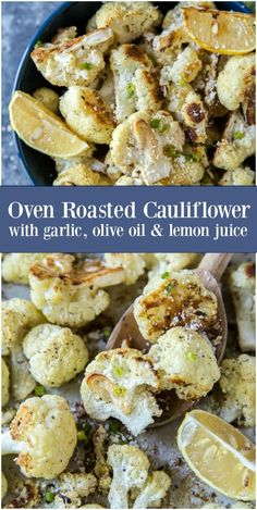 Oven Roasted Cauliflower with Garlic Olive Oil and Lemon Juice recipe from Recip. Easy Juice Recipes, Lemon Recipes, Ww Recipes, Side Dish Recipes, Vegetarian Recipes, Cooking Recipes, Dinner Recipes, Cocktail Recipes, Oven Roasted Cauliflower