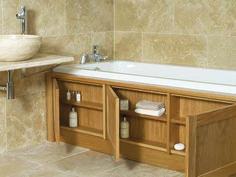 house bathroom Stonewood UK custom made storage bath panel Bath Panel Storage, Clever Bathroom Storage, Bathroom Organization, Clever Storage Ideas, Storage Tubs, Creative Storage, Hidden Storage, Diy Storage, Extra Storage