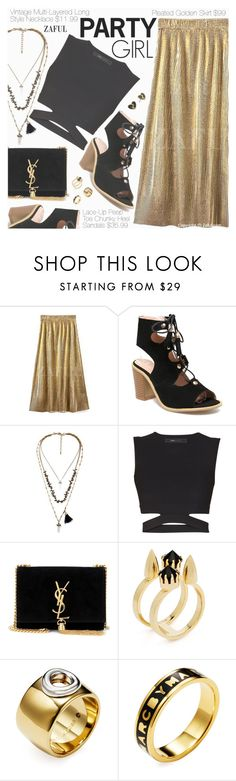 """Party Girl"" by pokadoll ❤ liked on Polyvore featuring BCBGMAXAZRIA, Yves Saint Laurent, Joomi Lim, Marc by Marc Jacobs and vintage"