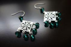 Emerald Chandelier Earrings by BeadingforChange on Etsy