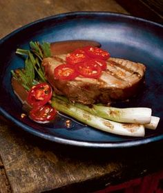Tuna Steaks With Grilled Scallions and Tomatoes from realsimple.com #myplate #protein #vegetables