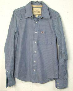 Hollister Mens Blue Striped 100% Cotton Long Sleeve Button Down Shirt Small S #Hollister