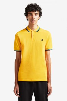 Fred Perry Polo Shirt- Modern Yellow / Modern Blue / Black Celebrity Closets, Celebrity Style, Clothes For Sale, Nike Clothes, Punk Shop, Fred Perry Polo Shirts, Twin Tips, Tennis Fashion, Nike Outfits