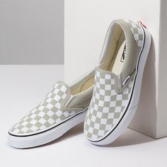 Vans shoes checkerboard slip on sneakers in silver and true white love these pastel vans for spring and summer chaussure love pastel spring chaussure love pastel spring summer vans Vans Shoes Fashion, Women's Shoes, Vans Shoes Women, Custom Vans Shoes, Women's Slip On Shoes, Hype Shoes, Slip On Sneakers, Girls Shoes, Me Too Shoes