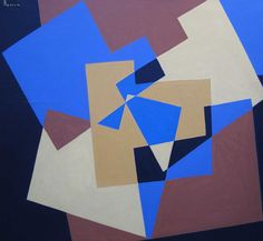 Composition by René Roche Oil on Canvas: 120 x 122 cm Signed and Dated 1974