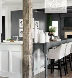 Kitchen designed by Atlanta based Melanie Turner and featured in TradHome. Eating counter in gray to match walls. Countered with white woodwork.