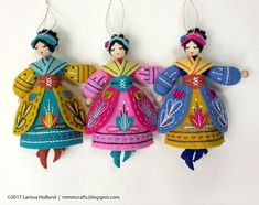 Lady Dancing PDF pattern for a hand sewn wool felt ornament