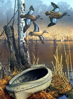"Duck Hunting boat and low flying ducks makeup this gadamus hunting scene Signed and Numbered Image Size 16""W x 21.5""H Comes with Certificate"