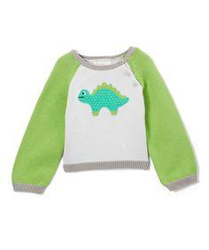 Look at this #zulilyfind! Gray & Green Stegosaurus Hand-Knit Sweater - Infant & Toddler #zulilyfinds