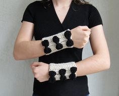 Handmade Crocheted Black Bow Wrist Warmers / Cuffs.  by vintagelookcreations