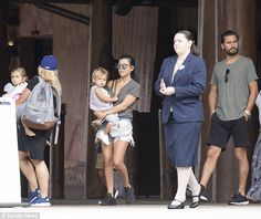Family time: Kourtney Kardashian and Scott Disick took their children Penelope, Reign and Mason (not pictured) for a trip to Disney World in Orlando, Florida, on Tuesday