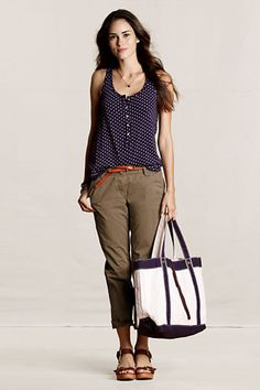 Women's Lightweight Slouch Chinos from Lands' End Canvas