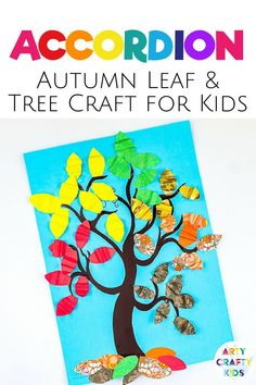 Looking for autumn tree crafts for kids to make at home or preschool? These 3D accordion leaf fall tree crafts for kids made with paper are fun   creative   colorful   cheap to make; the leaves are made with folded paper. Get printable craft templates   instructions for these   other easy fall crafts for kids here! Fall Paper Crafts for Kids | Fall Tree Crafts for Kids | Easy Fall Crafts for Kids Autumn | Fall Kids Crafts | Autumn Kids Crafts #FallCrafts