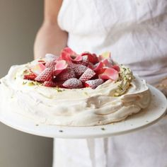 Rosewater and Pistachio Pavlova With Strawberries